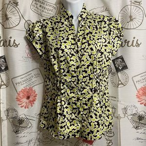Worthington Blouse Bright Green/Yellow and Brown